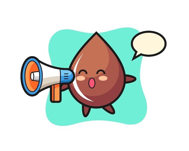 Illustrazione del personaggio di goccia di cioccolato che tiene un megafono, design in stile carino per maglietta, adesivo, elemento logo