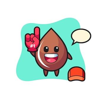 Fumetto illustrazione goccia di cioccolato con guanto fan numero 1, design in stile carino per t-shirt, adesivo, elemento logo