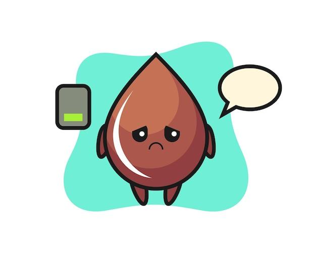 Personaggio mascotte goccia di cioccolato che fa un gesto stanco, design in stile carino per maglietta, adesivo, elemento logo