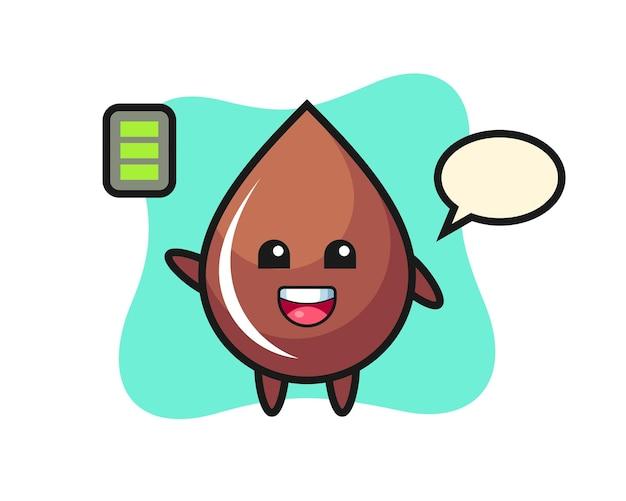 Personaggio mascotte goccia di cioccolato con gesto energico, design in stile carino per maglietta, adesivo, elemento logo