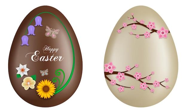 Uova di pasqua al cioccolato con fiori