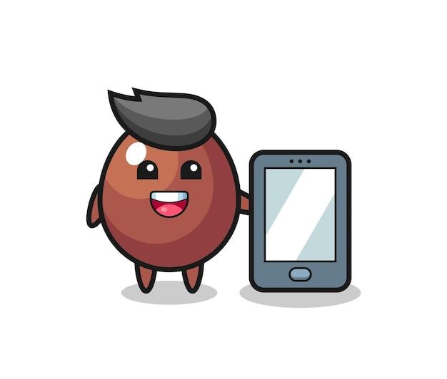 Fumetto dell'illustrazione dell'uovo di cioccolato che tiene uno smartphone, design carino