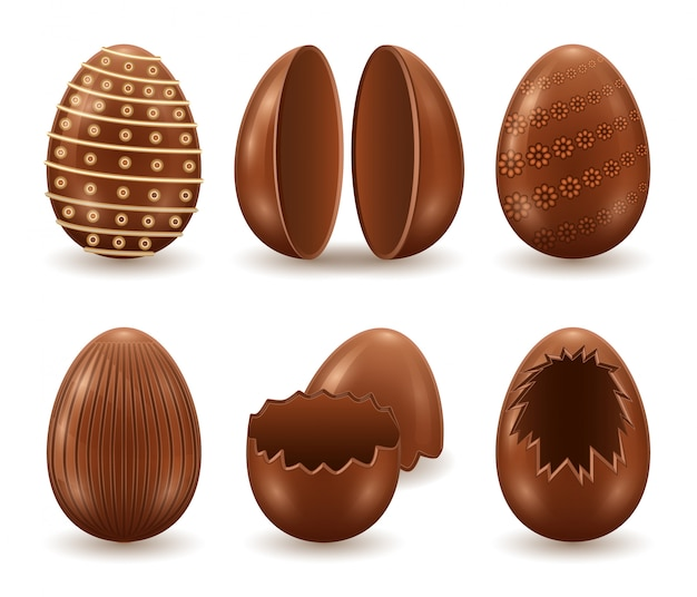 Icona stabilita realistica isolata uovo di cioccolato. icona realistica set guscio di cioccolato. illustrazione sorpresa uovo su sfondo bianco.