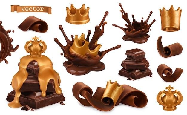 Insieme 3d della parte superiore dorata e del cioccolato