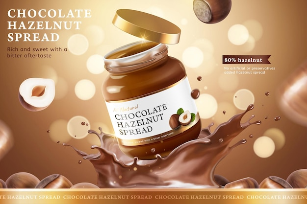 Annunci di diffusione di cioccolato alla nocciola con spruzzi di liquido su sfondo marrone glitter bokeh in illustrazione 3d