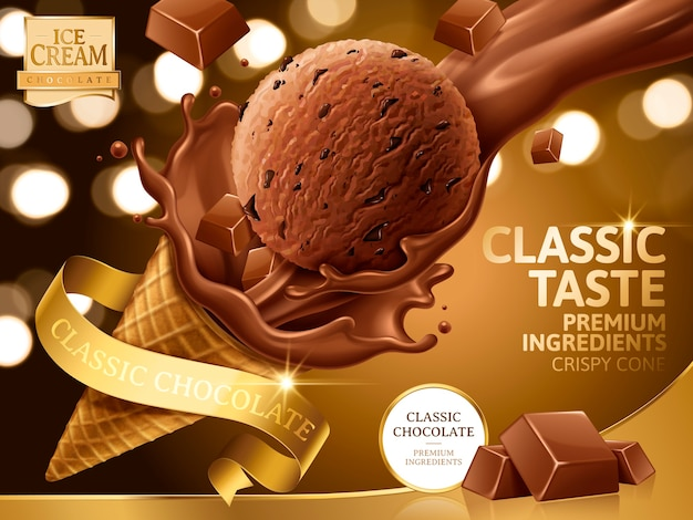 Illustrazione di annunci di cono gelato al cioccolato