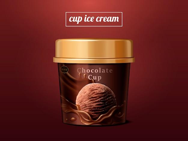 Coppa gelato al cioccolato mock up, pacchetto tazza di ghiaccio premium isolato su sfondo scarlatto