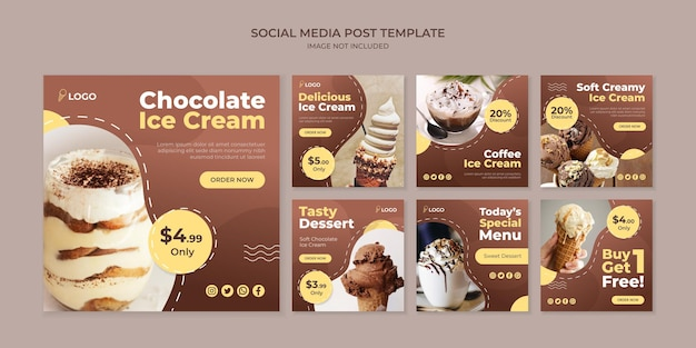 Modello di post instagram social media gelato al cioccolato