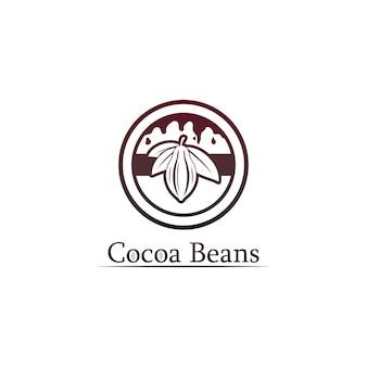 Logo del cioccolato e icona del cacao e design vettoriale dado e dado delizioso