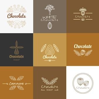 Loghi di cioccolato per l'imballaggio Vettore Premium