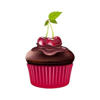 Muffin al cioccolato con illustrazione realistica ciliegia bigné di dessert al forno con frutti di bosco e glassa di cacao confezione di farina di pasticceria fatta in casa oggetto isolato su priorità bassa bianca