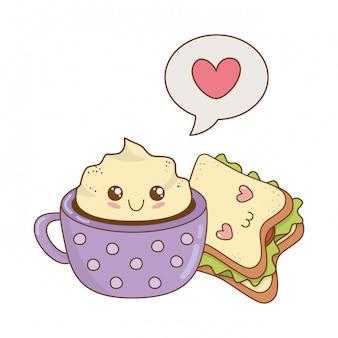 Tazza di cioccolata con personaggi kawaii a sandwich