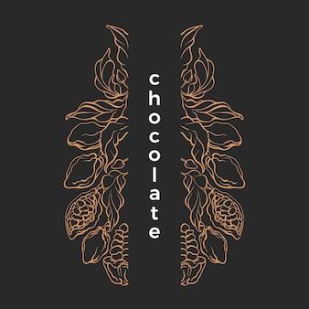 Modello di cioccolato. cornice grafica. illustrazione della natura. albero di cacao, ramo, fagiolo