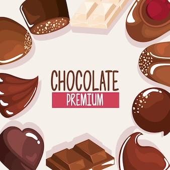 Prodotti di cioccolato intorno alle icone stabilite