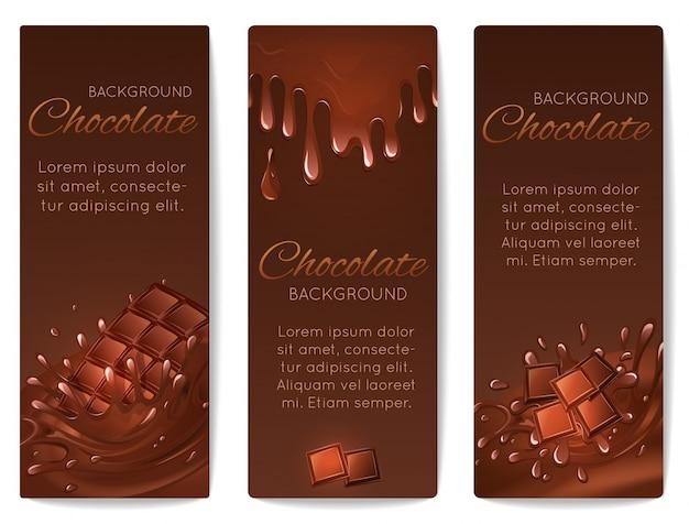 Il cioccolato spruzza i banner