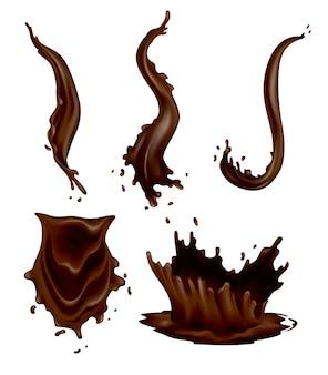 Spruzzi di cioccolato insieme di gocce realistiche e flussi di vortice su sfondo bianco. cibo di cacao liquido vettoriale, modello di bevanda calda. delizioso cioccolato fondente per la pubblicità di dolci di pasticceria