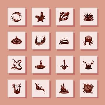 Set di schizzi di cioccolato