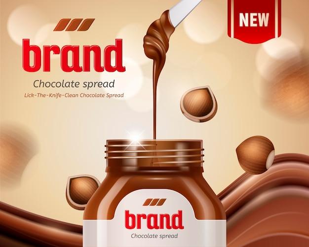 Crema spalmabile al cioccolato con nocciola e pasta gocciolante