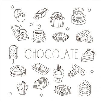 Cioccolato e dolci in stile disegnato a mano