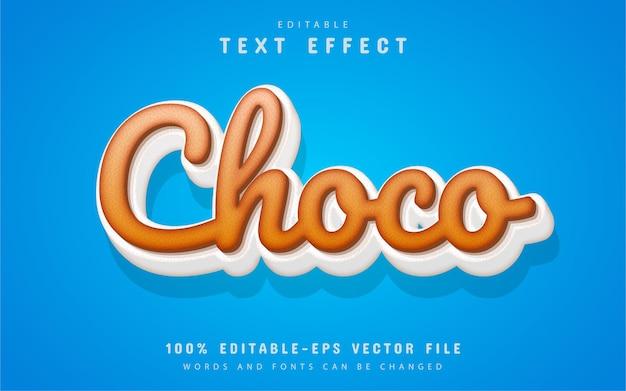 Stile cartone animato effetto testo al cioccolato