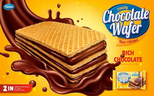 Annunci di wafer al cioccolato, biscotti croccanti con sciroppo di cioccolato splashg l'aria isolata su sfondo giallo mezzitoni