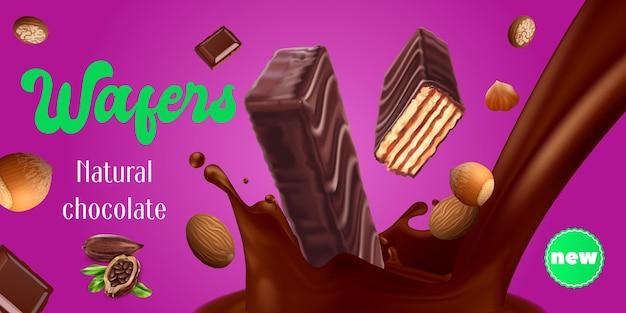 Wafer al cioccolato con pubblicità realistica di noci