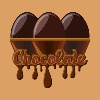 Cioccolato con uova di cioccolato fuso su sfondo arancione