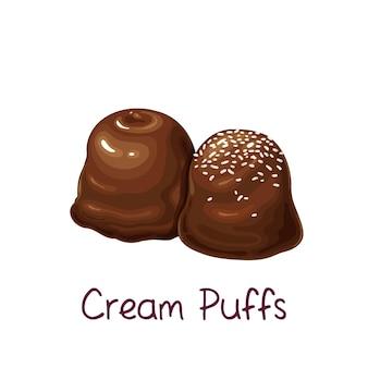 Icona di cioccolatini e mini bignè.