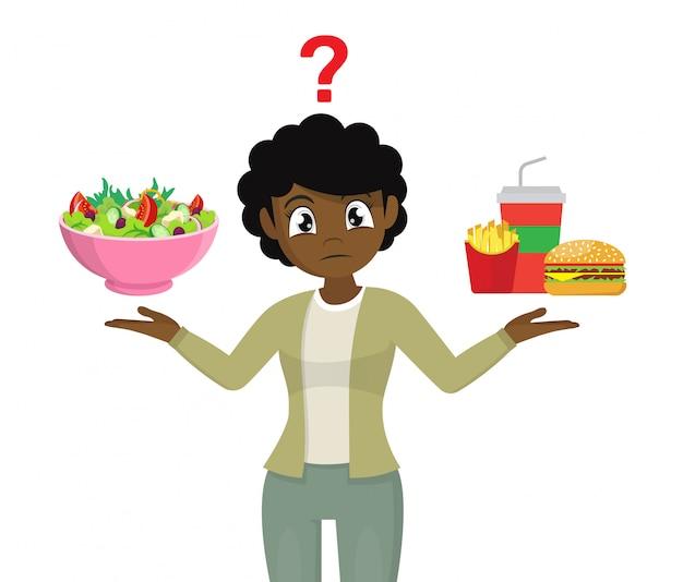 La scelta delle donne africane. cibo spazzatura o cibo sano.,