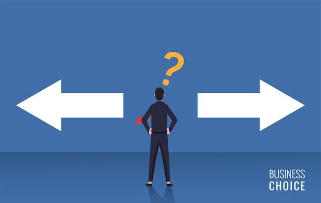 Scelta dell'illustrazione dell'uomo d'affari. simbolo aziendale con punto interrogativo.