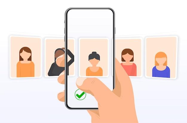La scelta di una ragazza o di un uomo sì o no uomini e donne affronta avatar icone vettoriali in stile piatto