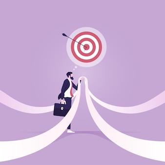 Scelta modo concetto metafora aziendale decisione uomo d'affari prima di scegliere