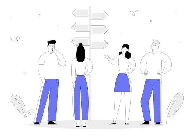 Scelta del concetto di modo con uomini d'affari in piedi al puntatore stradale con indicazioni facili e difficili, prendendo la decisione su quale percorso scegliere.