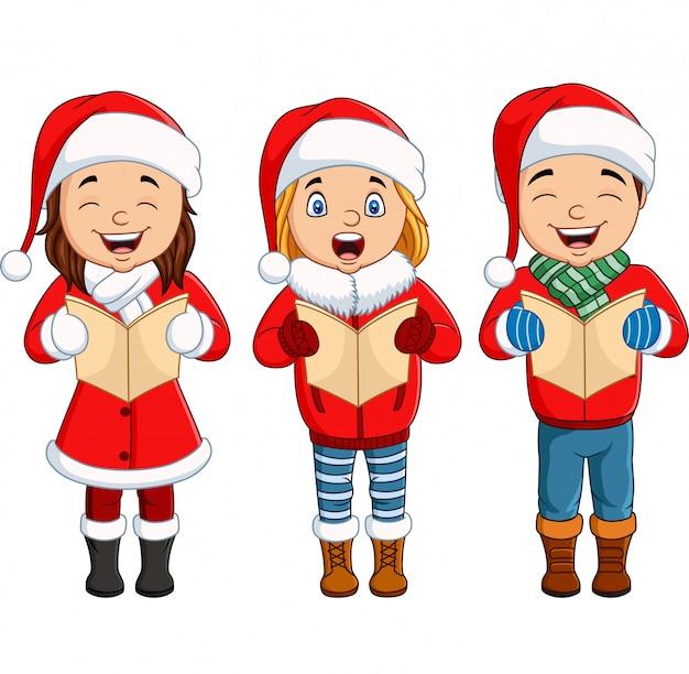 Coro di bambini che cantano una canzone