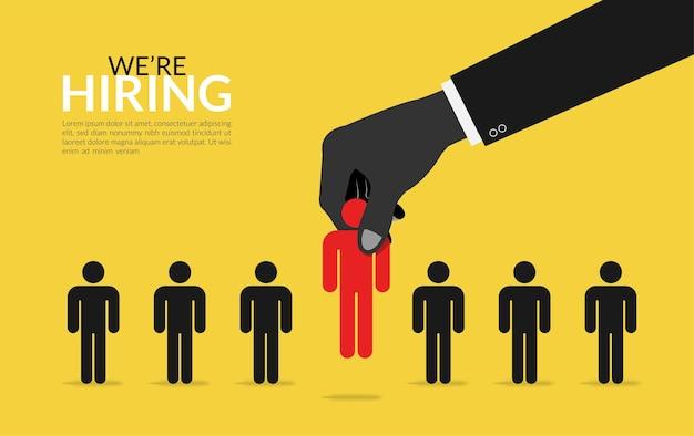 Scegliere il miglior concetto di candidato. assunzione di lavoro con grande mano raccogliendo il miglior talento simbolo illustrazione
