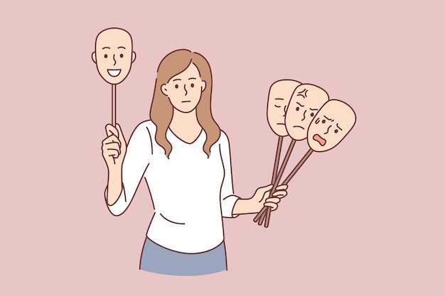 Scelta dell'umore del concetto di giorno. giovane personaggio dei cartoni animati femminile in piedi con varie maschere di emozioni che scelgono il momento giusto per l'illustrazione vettoriale