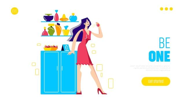 Scelta di una nuova pagina di destinazione degli aromi con una donna affascinante che prova un nuovo profumo nel negozio di cosmetici di moda.