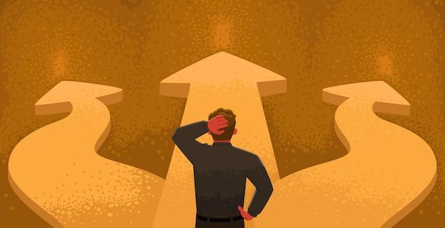 Scegliere un percorso un uomo d'affari confuso si trova a un bivio e prova