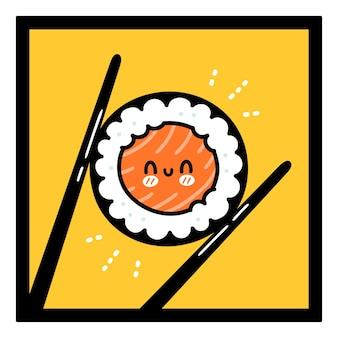 Bacchette che tengono il carattere felice del rotolo di sushi Vettore Premium
