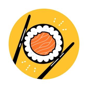 Bacchette che tengono il rotolo di sushi. icona del logo dell'annata dell'illustrazione di doodle del fumetto disegnato a mano di vettore. rotolo di sushi maki con salmone, bacchette, concetto di logo del ristorante di cibo asiatico
