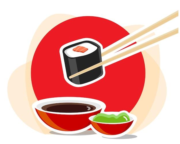 Bacchette con rotolo di sushi