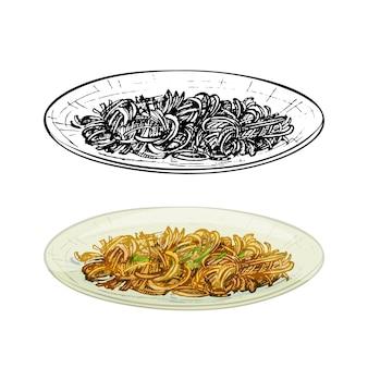 Chow mein sul piatto. illustrazione disegnata a mano di covata di vettore dell'annata isolata