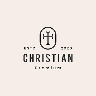 Christian croce chiesa hipster logo vintage