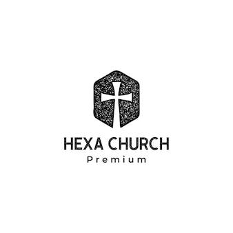 Modello di logo di christian cross church in forma esagonale