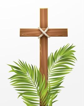 Croce cristiana. congratulazioni per la domenica delle palme, la pasqua e la risurrezione di cristo. illustrazione di vettore eps10