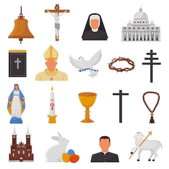 Le icone cristiane vector i segni della religione del cristianesimo e la chiesa di simboli religiosi