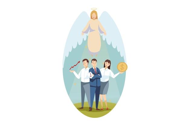 Cristianesimo, bibbia, religione, protezione, affari, concetto di supporto. il carattere religioso biblico di angelo protegge i responsabili degli impiegati della donna dell'uomo d'affari che stanno insieme. illustrazione di cura di supporto divino.