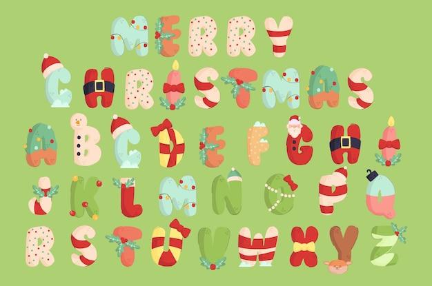 Insieme dell'illustrazione di alfabeto di natale