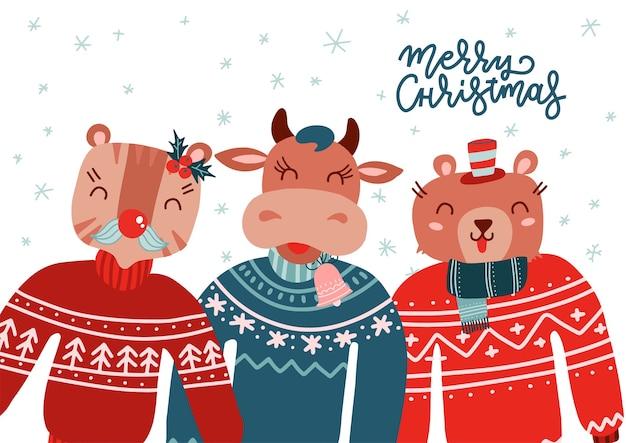 Animali natalizi che indossano un brutto maglione. testo di lettere di natale
