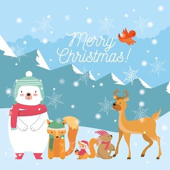 Animali natalizi tra paesaggio invernale. biglietto natalizio